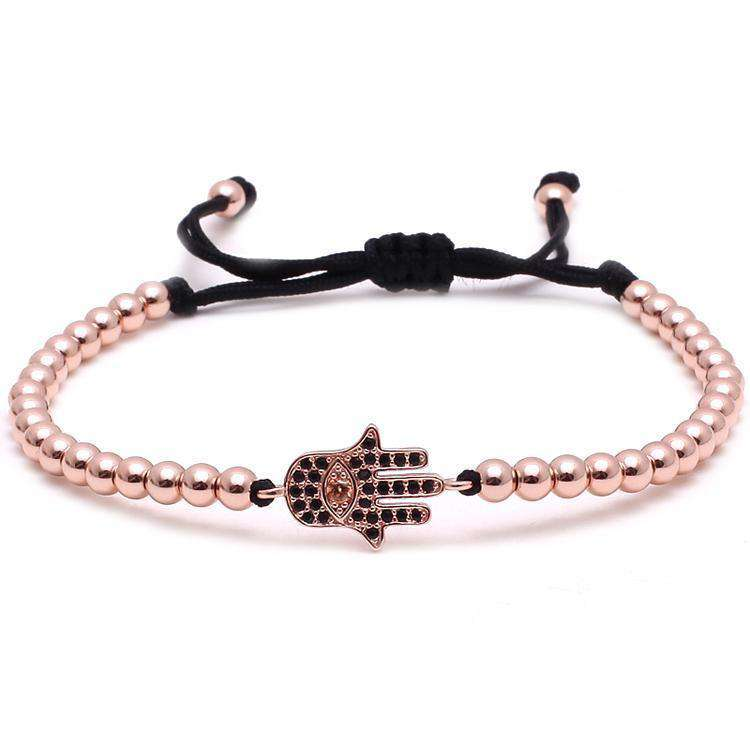 Brother & Sisters bracelet 24k Rose Gold Hamsa & Little Beads