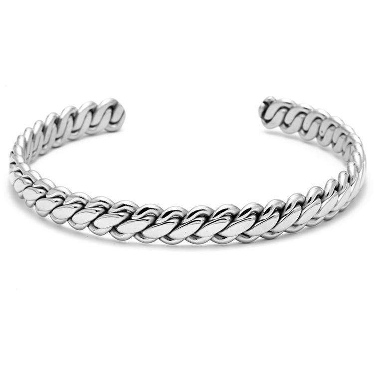 Brother & Sisters bracelet 24k White Gold Braided Cuff