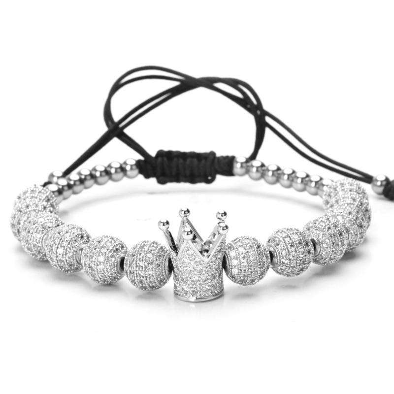Brother & Sisters bracelet 24k White Gold Crown & Beads with Zircons