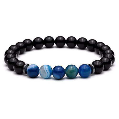Brother & Sisters bracelet Black/Blue Eyes Tiger Eyes & Shiny Stones