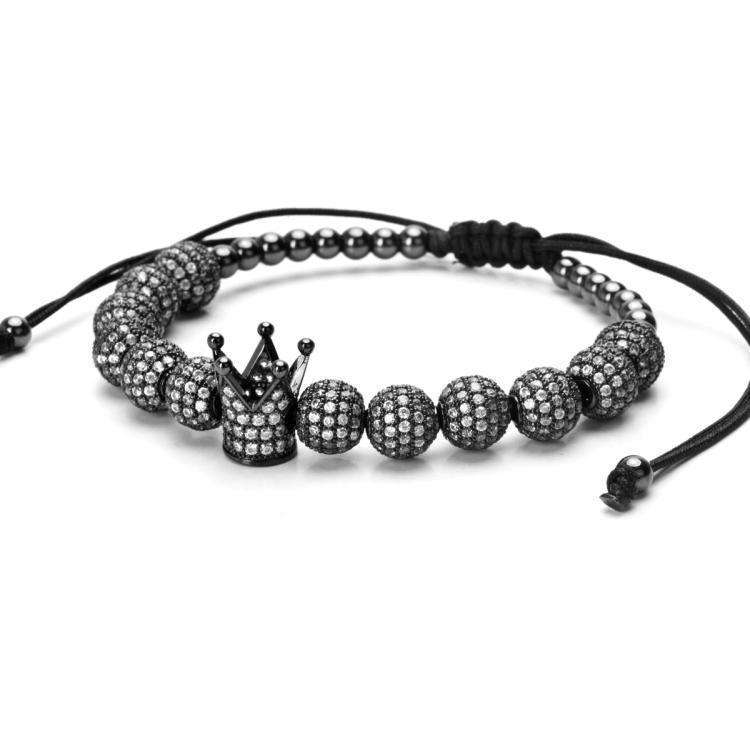 Brother & Sisters bracelet Crown & Beads with Zircons
