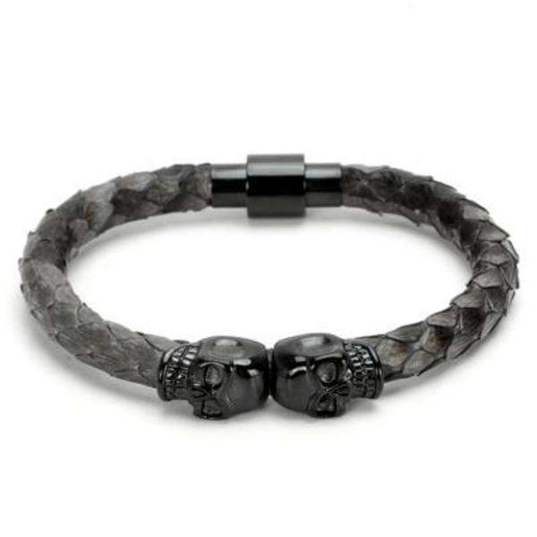 Brother & Sisters bracelet Gray Black Skulls & Snake Skin