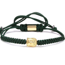 Brother & Sisters bracelet Green Rope Gold Buddha