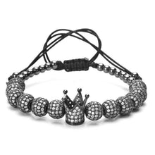 Brother & Sisters bracelet Gun Black Crown & Beads with Zircons