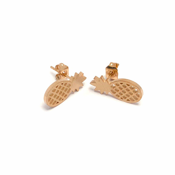 Brother & Sisters earrings 18k Rose Gold Little Pineapple Earrings