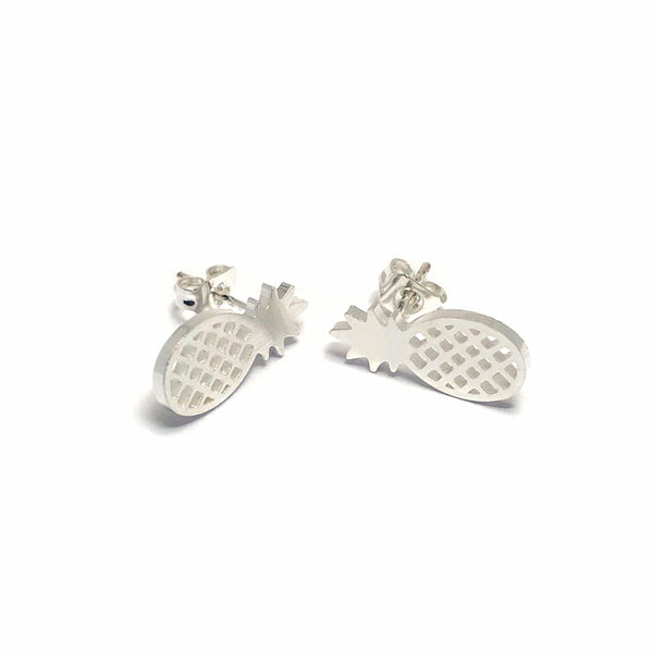 Brother & Sisters earrings 18k White Gold Little Pineapple Earrings