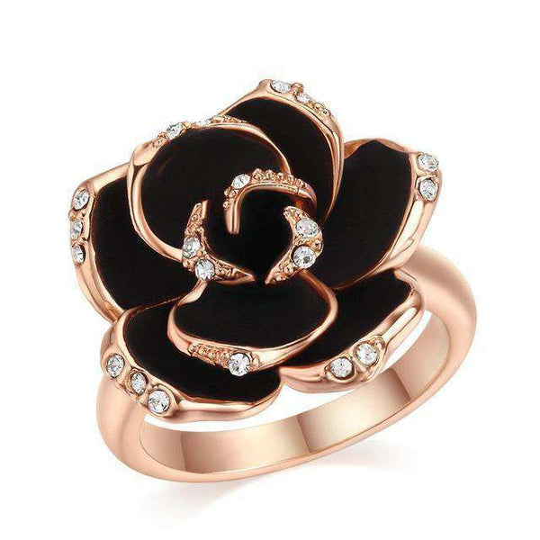 Brother & Sisters ring 5.06cm / 1.97inch / 18k Rose Gold Black Rose Ring