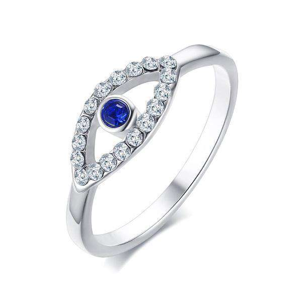 Brother & Sisters ring 5.2cm / 2.05inch / Silver Eye & Zircons Ring