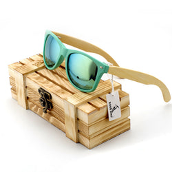 BOBO BIRD Teal Frame/Bamboo Legs Polarized Sunglasses