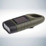 Hand Crank Solar Powered Rechargeable LED Flashlight