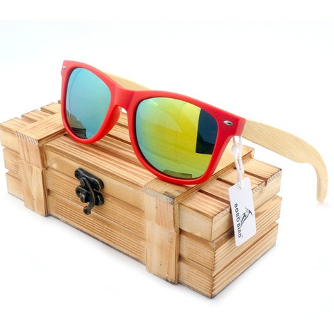 BOBO BIRD Red Frame/Bamboo Legs Polarized Sunglasses