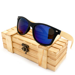 BOBO BIRD Black Frame/Bamboo Legs Polarized Sunglasses