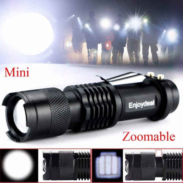 FREE CREE LED Q5 2000 Lumen Zoomable Pocket Flashlight