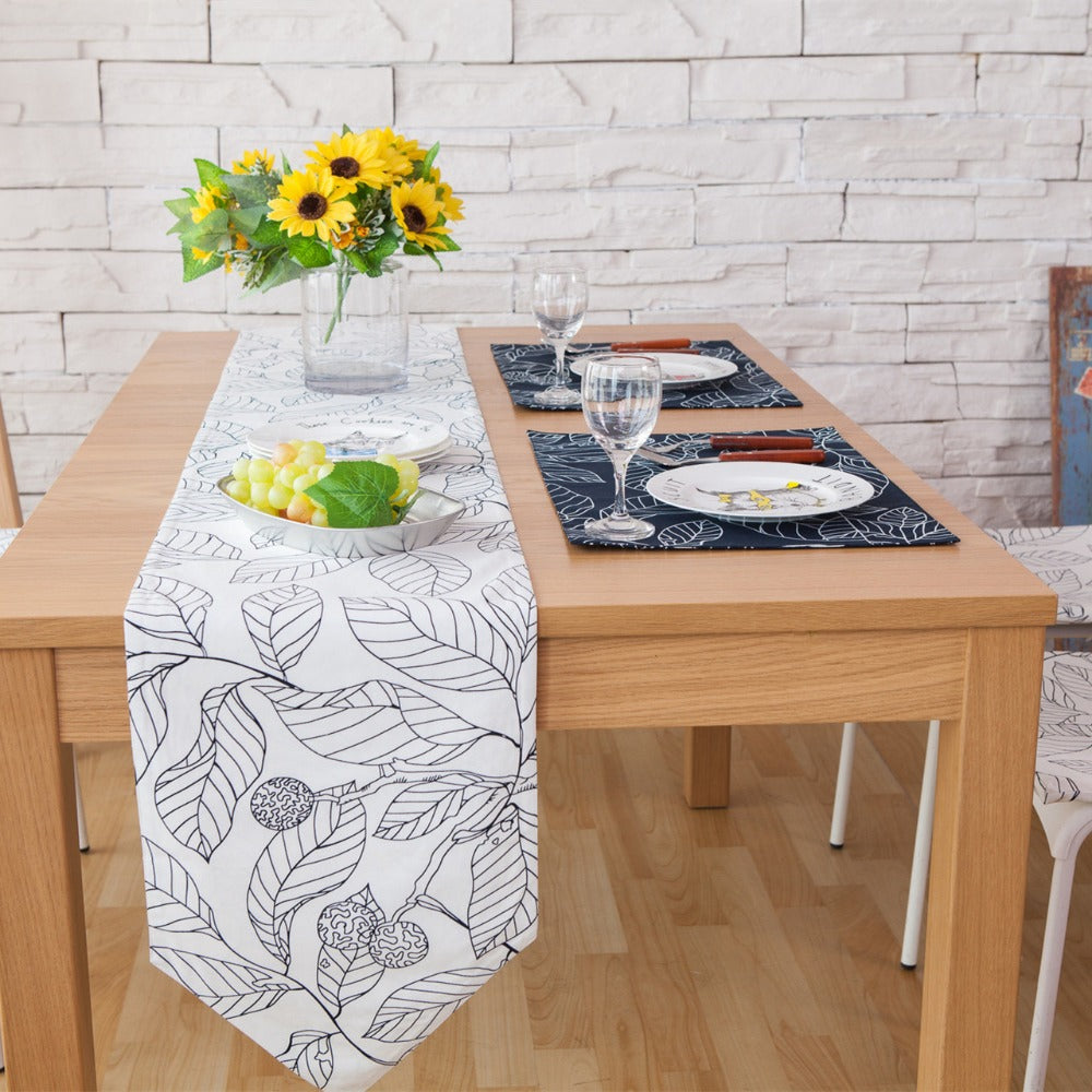 Navy Blue Leaves Linen Cotton Table Runner And Placemats Set Fab