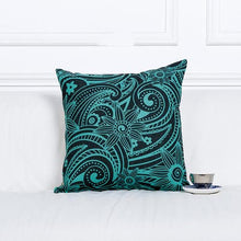 Geometric Henna Floral Aqua Turquoise Black Linen Pillow Cushion Cover