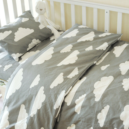 Cloud 3pc Toddler bedding Set Grey or Pink (pillow case+bed sheet+duvet cover)