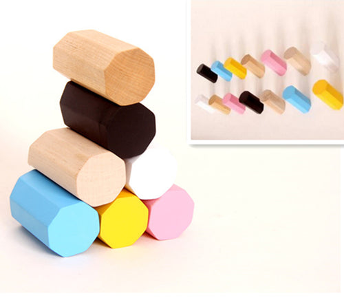 Colorful natural wood wall hanger hooks
