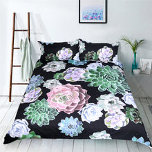 Floral Succulent Duvet Cover Bedding Set