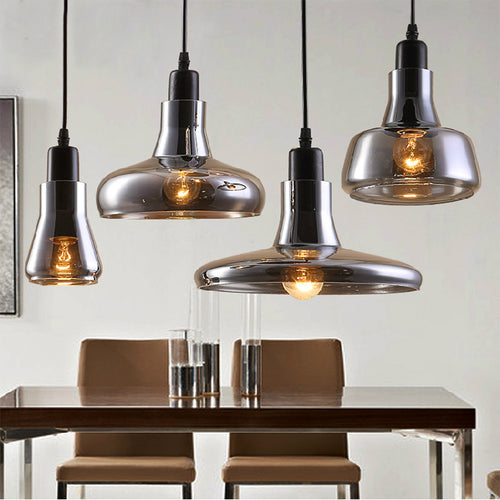 Modern Gray Glass Ceiling Pendant Light Fixture