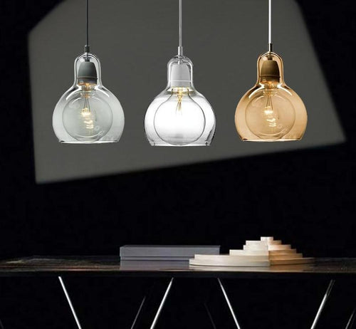 Modern Glass Bulb Shape Loft Pendant Ceiling Light Fixtures (Amber, Clear, Gray)