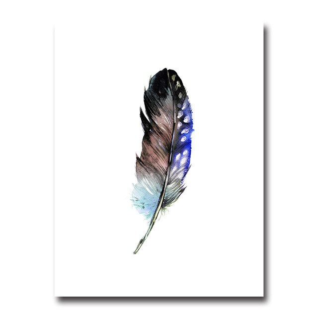 Colorful Watercolor Feathers Wall Art Canvas Poster Prints