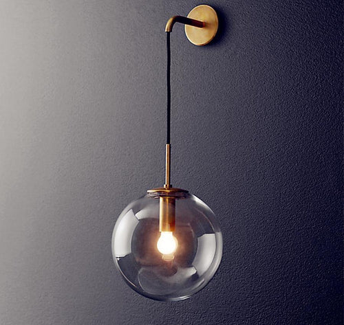 Modern Retro Hanging Globe Black Brass Wall Lamp Sconce Light Fixture