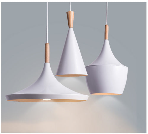 White Slope Wood Pendant Light Fixtures