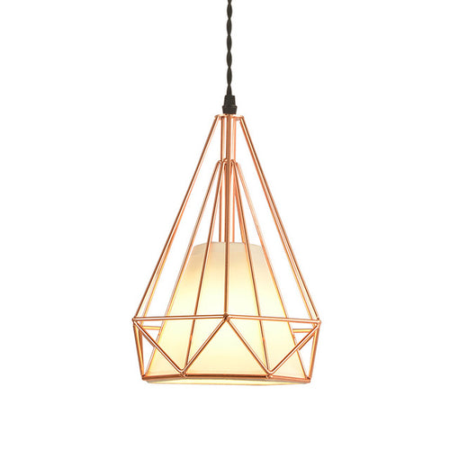 Modern Plated Rose Gold Diamond Cage Cord Pendant Ceiling Light Fixture