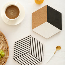 Geometric Hexagon Black and White Cork Table Coaster Trivet 4pc Set