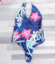Tropical Floral Ocean One Piece Backless Bandage Swim Suit