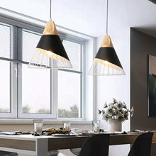 Modern Slope Cage Wood Aluminum Pendant Ceiling Light Fixtures (White or Black)