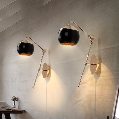Modern Home Art Black Gold Globe Wall Sconce Light Fixture