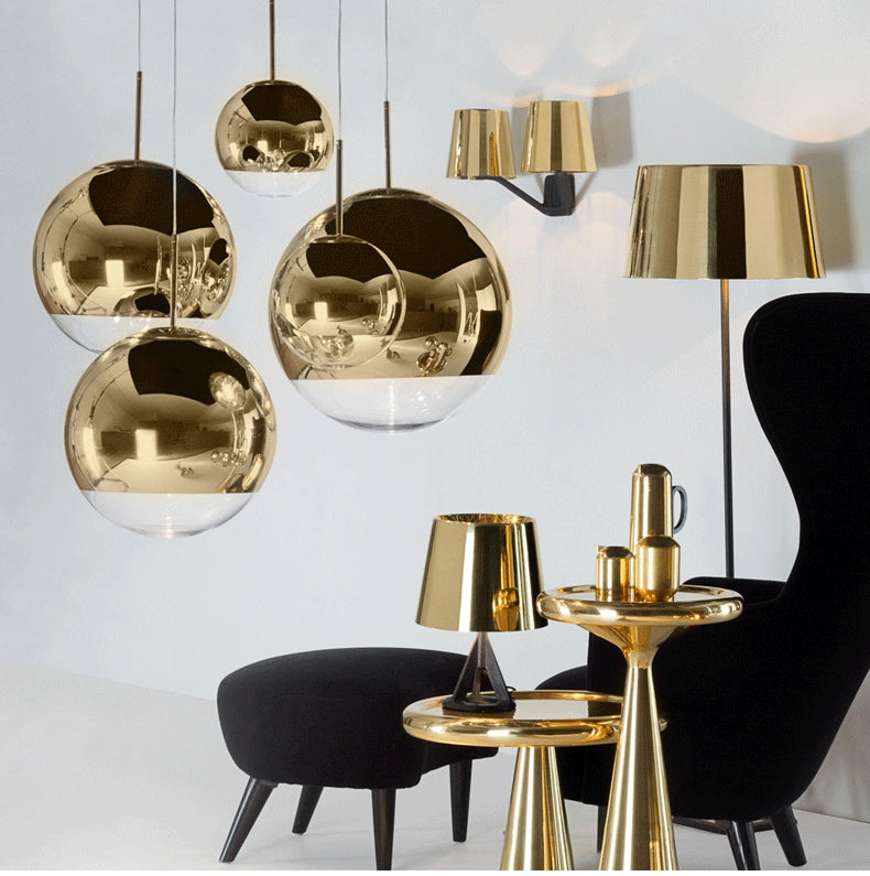 Modern Mirror Globe Glass Ball Pendant Ceiling Light Fixture Copper/Silver/Gold