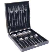 Modern Sleek Stainless Steel Tableware Fork Knife Spoon Set - Black