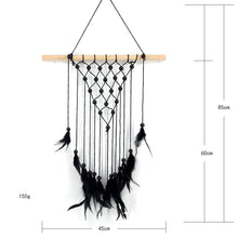 Bohemia Feather Bead Macrame Wall Hanging Tapestry Art