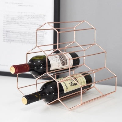 Geometric Honeycomb Design Iron Art Wine Rack (Gold or Rose Gold)
