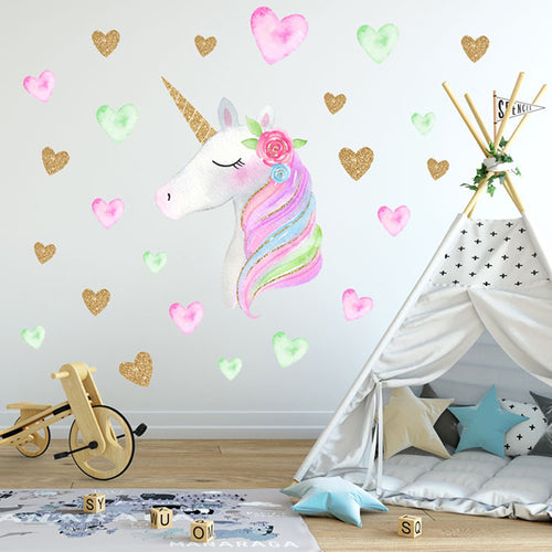 Unicorm Heart Star Wall Decal Stickers