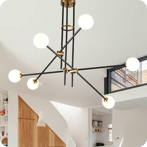 Modern Line Globe Black Brass Pendant Chandelier Light Fixture (2-9 Lights)