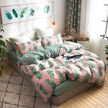 Tropical Leaves Pink & Green Duvet Cover Set