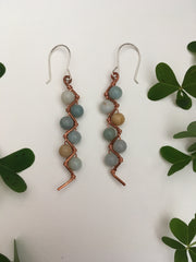 amazonite recycled copper electrical wire zig zag shape copper jewelery wire wrapped made in usa simple wealth art