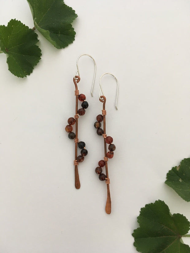 carnelian recycled copper wire wrapped descending stones earrings made in usa simple wealth art