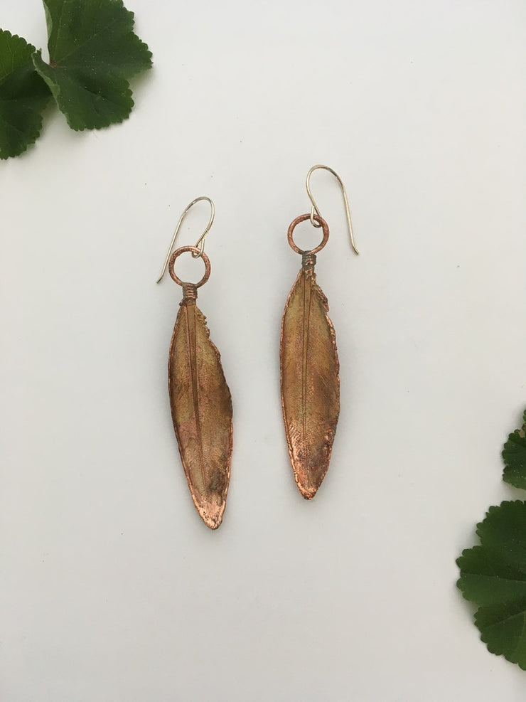 recycled copper electroformed feather earrings small feather decorations simple wealth art made in usa