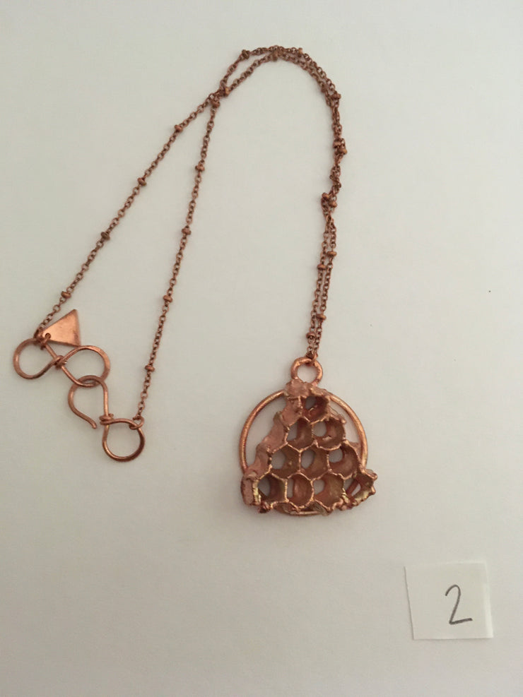 electroformed honeycomb pendant recycled copper made in usa simple wealth art