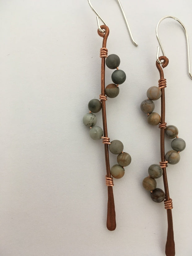 porcelian jasper recycled copper wire wrapped descending stones earrings made in usa simple wealth art