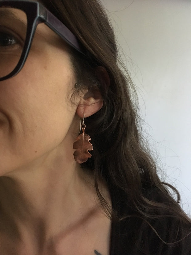 large tucker oak electroformed earrings recycled copper simple wealth art made in usa