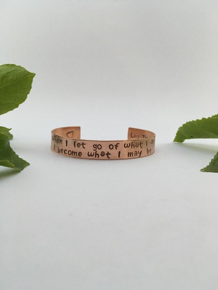 Lao Tzo quote recycled copper affirmation bracelet mantra band simple wealth art made in usa
