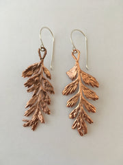 mother fern electroformed earrings recycled copper simplewealth art made in usa small