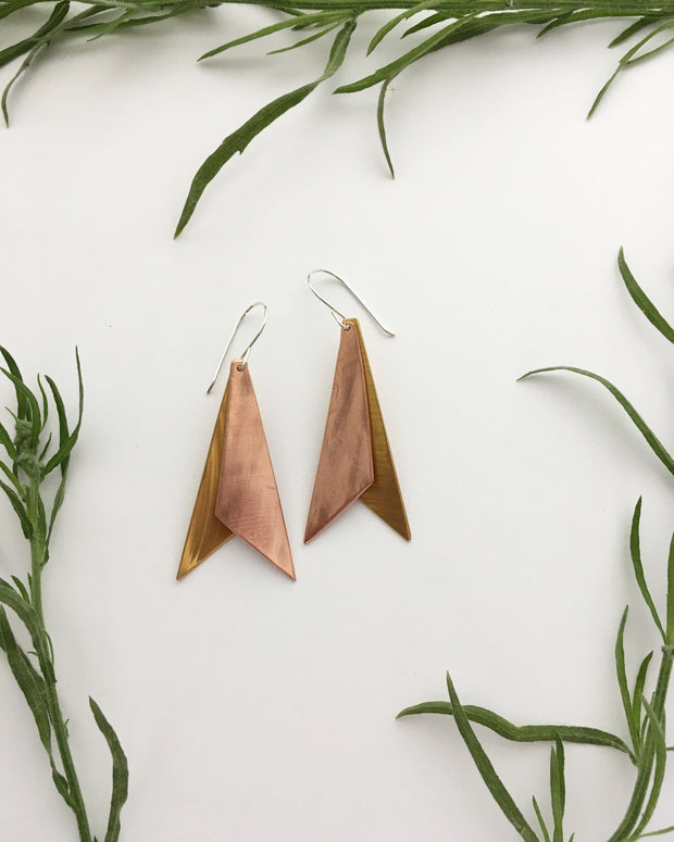 double dagger recycled copper and brass earrings simple wealth art