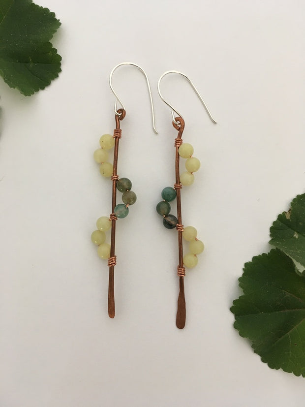 yellow jade and moss agate recycled copper wire wrapped descending stones earrings made in usa simple wealth art