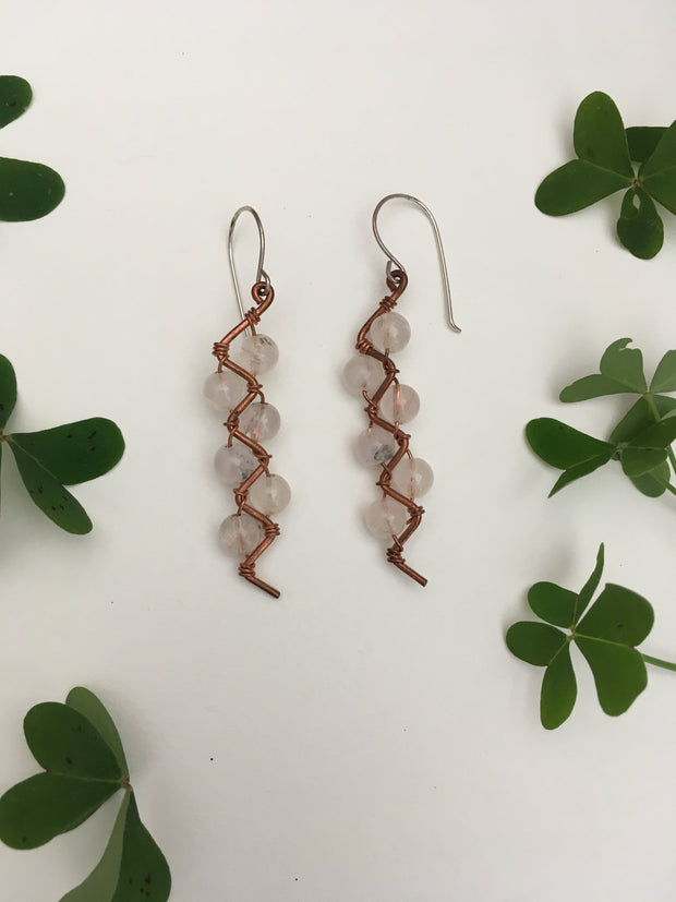 quartz recycled copper electrical wire zig zag shape copper jewelery wire wrapped made in usa simple wealth art